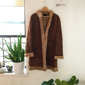 VTG GUESS early '00s leather/faux shearling coat